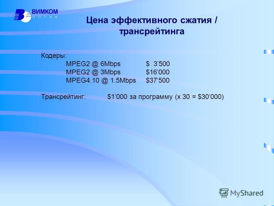 Цена эффективного сжатия / трансрейтинга Кодеры: MPEG2 @ 6Mbps $ 3500 MPEG2 @ 3Mbps $16000 MPEG4.10 @ 1.5Mbps $37500 Трансрейтинг: $1000 за программу (х 30 = $30000)
