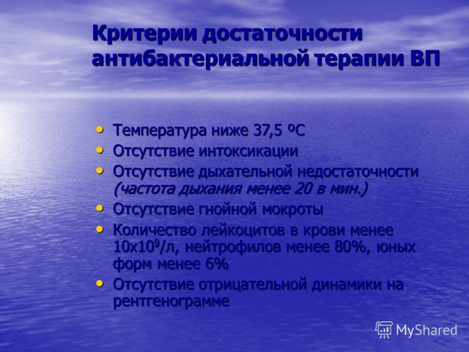 Критерии достаточности антибактериальной терапии ВП Температура ниже 37,5 ºС Температура ниже 37,5 ºС Отсутствие интоксикации Отсутствие интоксикации Отсутствие дыхательной недостаточности (частота дыхания менее 20 в мин.) Отсутствие дыхательной недо
