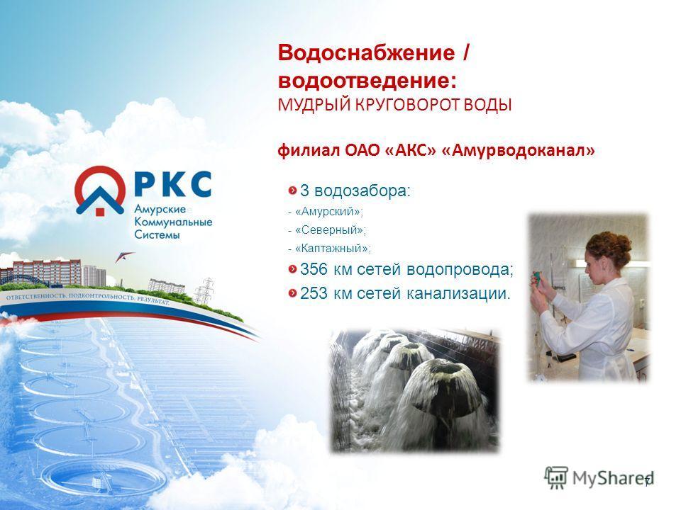 7 3 водозабора: - «Амурский»; - «Северный»; - «Каптажный»; 356 км сетей водопровода; 253 км сетей канализации. Водоснабжение / водоотведение: МУДРЫЙ КРУГОВОРОТ ВОДЫ филиал ОАО «АКС» «Амурводоканал»
