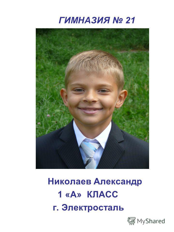 ГИМНАЗИЯ 21 Николаев Александр 1 «А» КЛАСС г. Электросталь