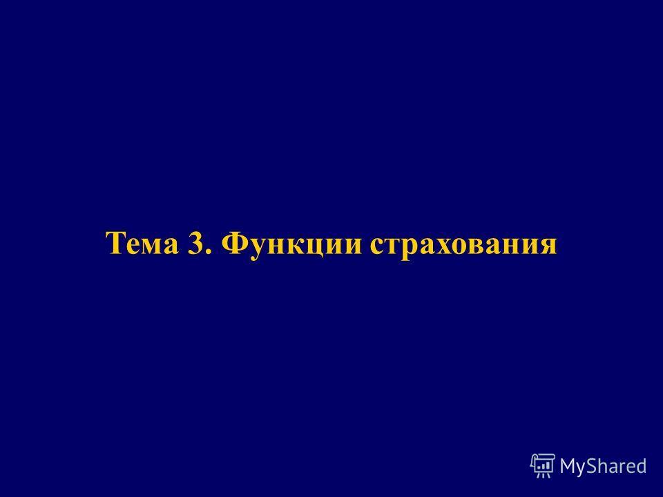 Тема 3 Тема 3. Функции страхования