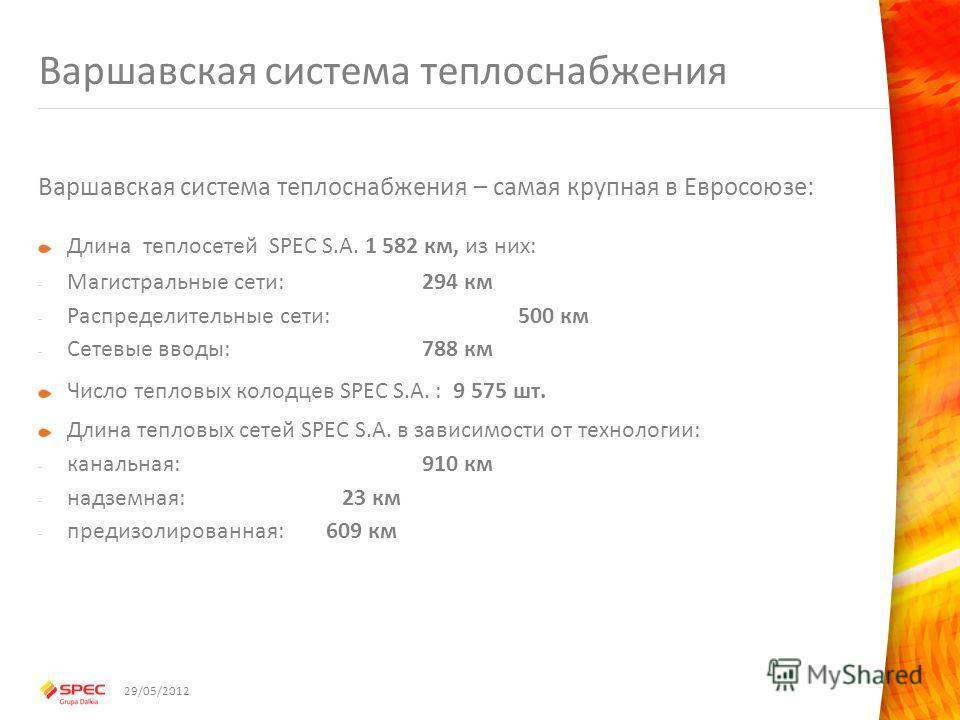 Варшавская система теплоснабжения Варшавская система теплоснабжения – самая крупная в Евросоюзе: Длина теплосетей SPEC S.A. 1 582 км, из них: - Магистральные сети:294 км - Распределительные сети:500 км - Сетевые вводы: 788 км Число тепловых колодцев