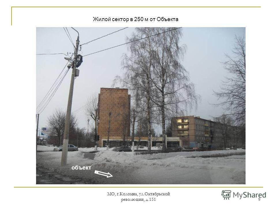 МО, г.Коломна, ул.Октябрьской революции, д.151 9 объект Жилой сектор в 250 м от Объекта
