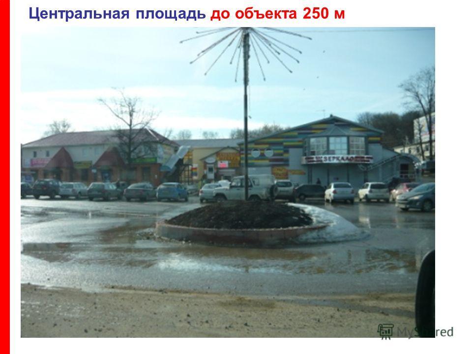 Центральная площадь до объекта 250 м