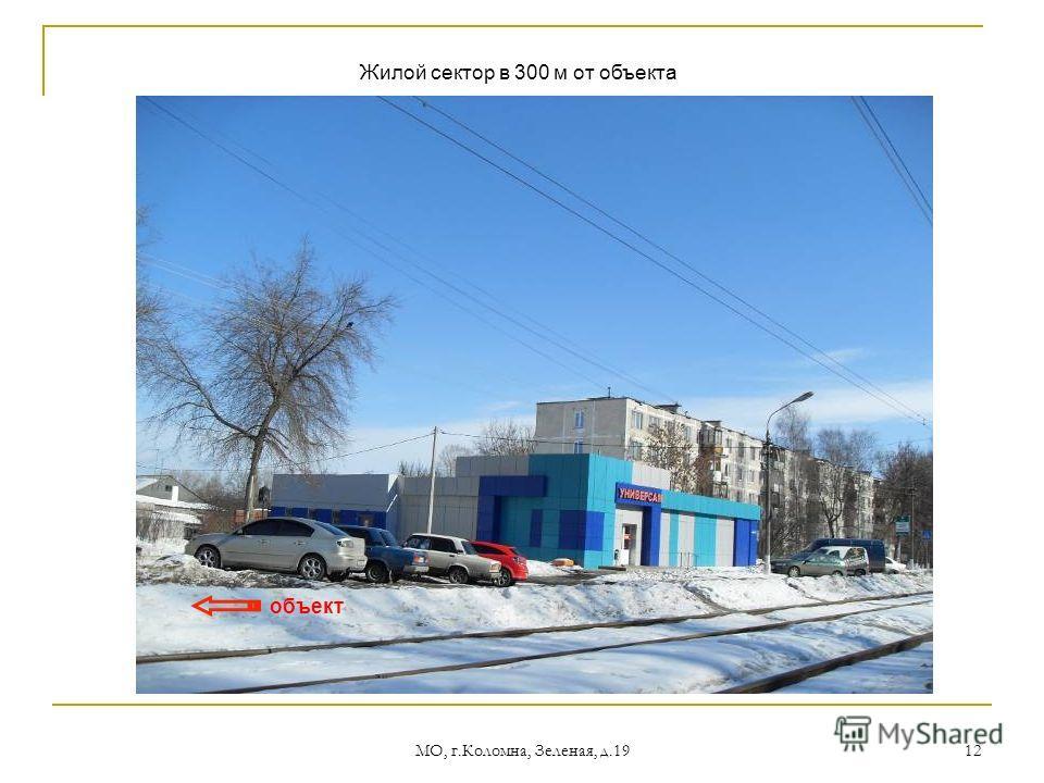 МО, г.Коломна, Зеленая, д.19 12 объект Жилой сектор в 300 м от объекта