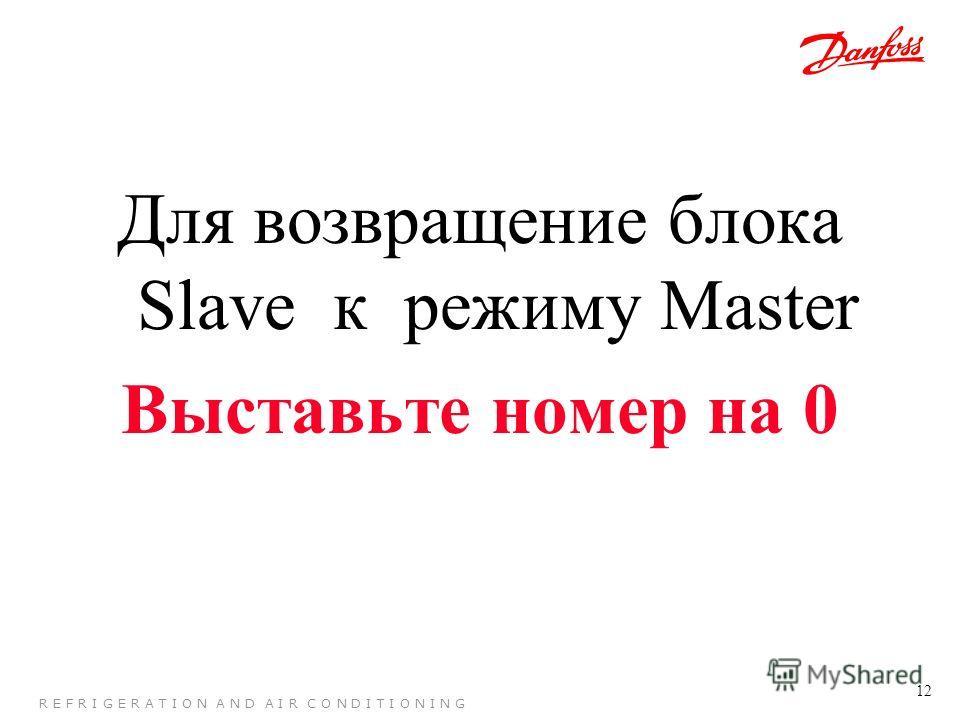12 R E F R I G E R A T I O N A N D A I R C O N D I T I O N I N G Для возвращение блока Slave к режиму Master Выставьте номер на 0