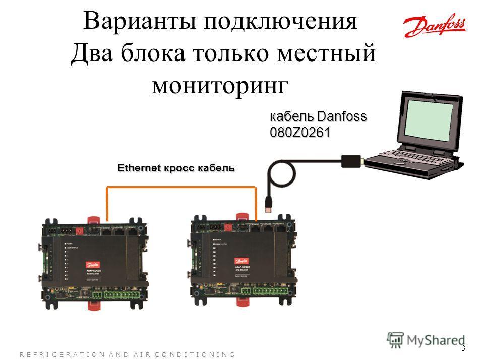 3 R E F R I G E R A T I O N A N D A I R C O N D I T I O N I N G Варианты подключения Два блока только местный мониторинг кабель Danfoss 080Z0261 Ethernet кросс кабель