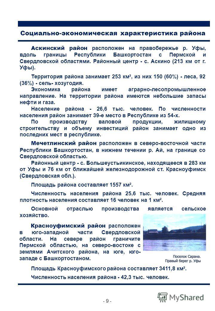 - 9 - Аскинский район расположен на правобережье р. Уфы, вдоль границы Республики Башкортостан с Пермской и Свердловской областями. Районный центр - с. Аскино (213 км от г. Уфы). Территория района занимает 253 км², из них 150 (60%) - леса, 92 (36%) -