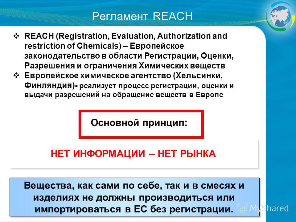 3 Регламент REACH REACH (Registration, Evaluation, Authorization and restriction of Chemicals) – Европейское законодательство в области Регистрации, Оценки, Разрешения и ограничения Химических веществ Европейское химическое агентство (Хельсинки, Финл