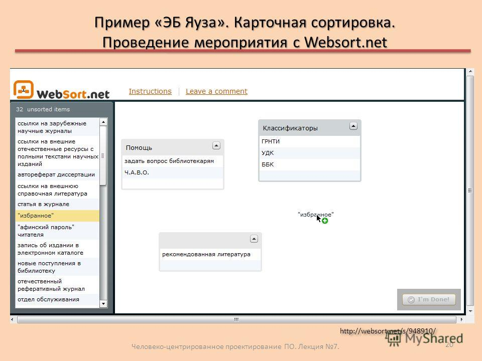 Пример «ЭБ Яуза». Карточная сортировка. Проведение мероприятия с Websort.net Человеко-центрированное проектирование ПО. Лекция 7. 20 http://websort.net/s/948910/