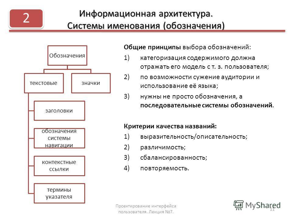 Информационная архитектура. Системы именования (обозначения) Общие принципы выбора обозначений: 1)категоризация содержимого должна отражать его модель с т. з. пользователя; 2)по возможности сужение аудитории и использование её языка; 3)нужны не прост