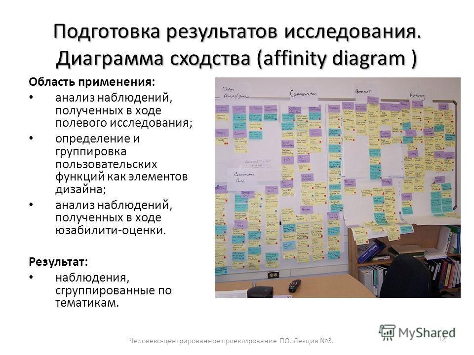 Подготовка результатов исследования. Диаграмма сходства (affinity diagram ) 12 Область применения: анализ наблюдений, полученных в ходе полевого исследования; определение и группировка пользовательских функций как элементов дизайна; анализ наблюдений