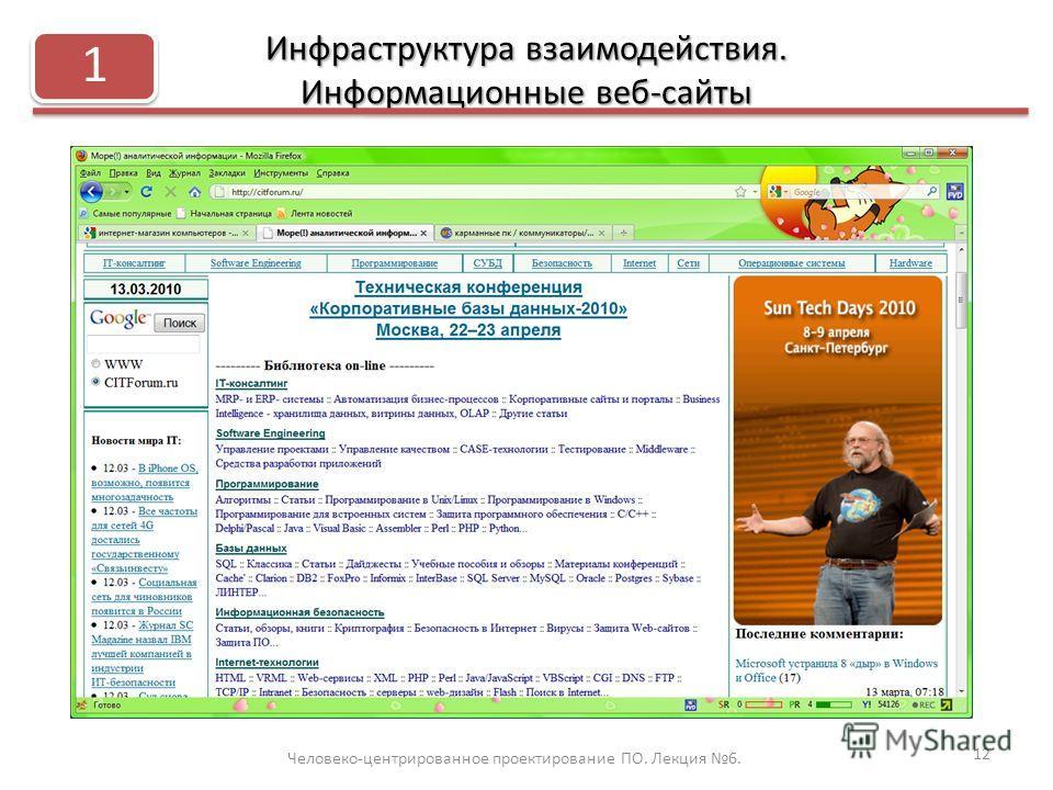 Инфраструктура взаимодействия. Информационные веб-сайты Человеко-центрированное проектирование ПО. Лекция 6. 12 1