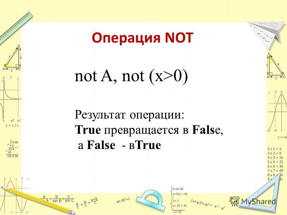Операция NOT not A, not (x>0) Результат операции: True превращается в False, а False - вTrue