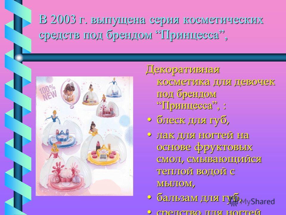 В 2003 г. выпущена серия косметических средств под брендом Принцесса, Декоративная косметика для девочек под брендом Принцесса, : блеск для губ,блеск для губ, лак для ногтей на основе фруктовых смол, смывающийся теплой водой с мылом,лак для ногтей на
