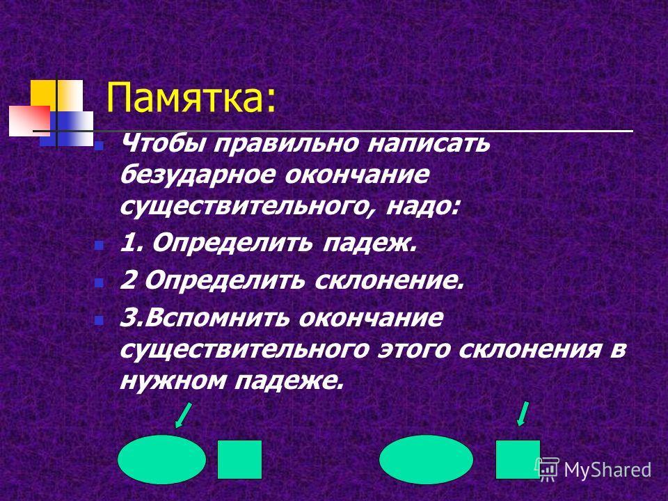 Памятка: Чтобы правильно написать безударное окончание существительного, надо: 1. Определить падеж. 2 Определить склонение. 3.Вспомнить окончание существительного этого склонения в нужном падеже.
