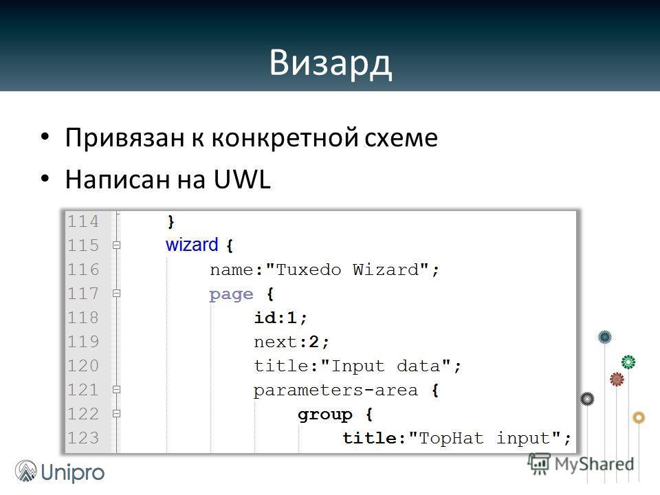 Привязан к конкретной схеме Написан на UWL