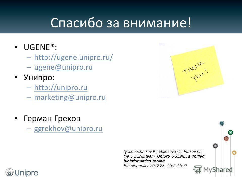 Спасибо за внимание! UGENE*: – http://ugene.unipro.ru/ – ugene@unipro.ru Унипро: – http://unipro.ru – marketing@unipro.ru Герман Грехов: – ggrekhov@unipro.ru *[Okonechnikov K.; Golosova O.; Fursov M.; the UGENE team.Unipro UGENE: a unified bioinforma