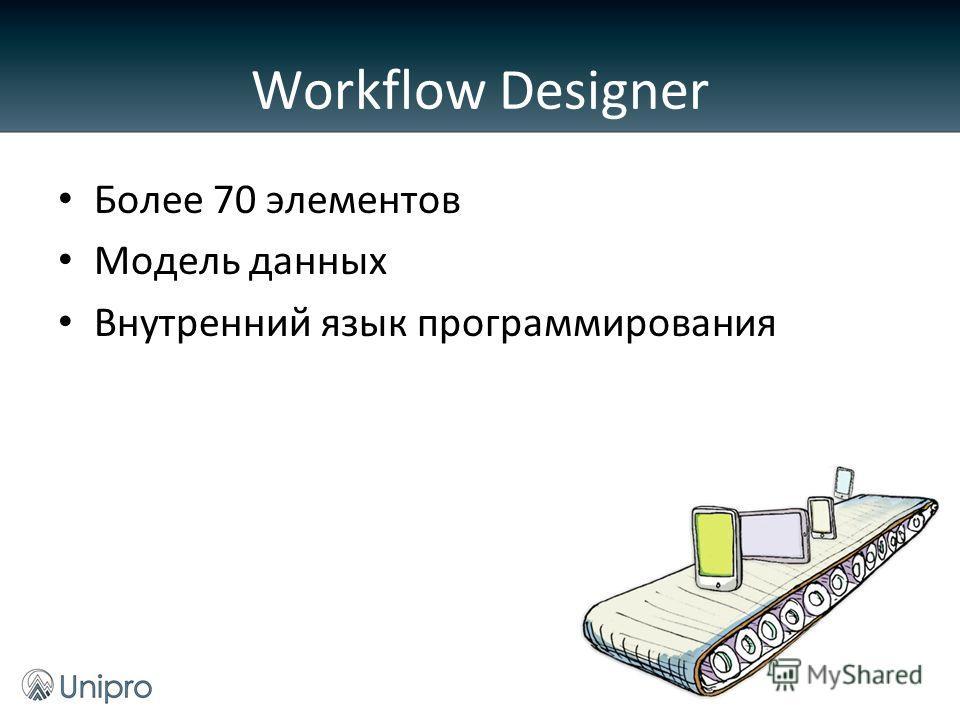 Более 70 элементов Модель данных Внутренний язык программирования Workflow Designer