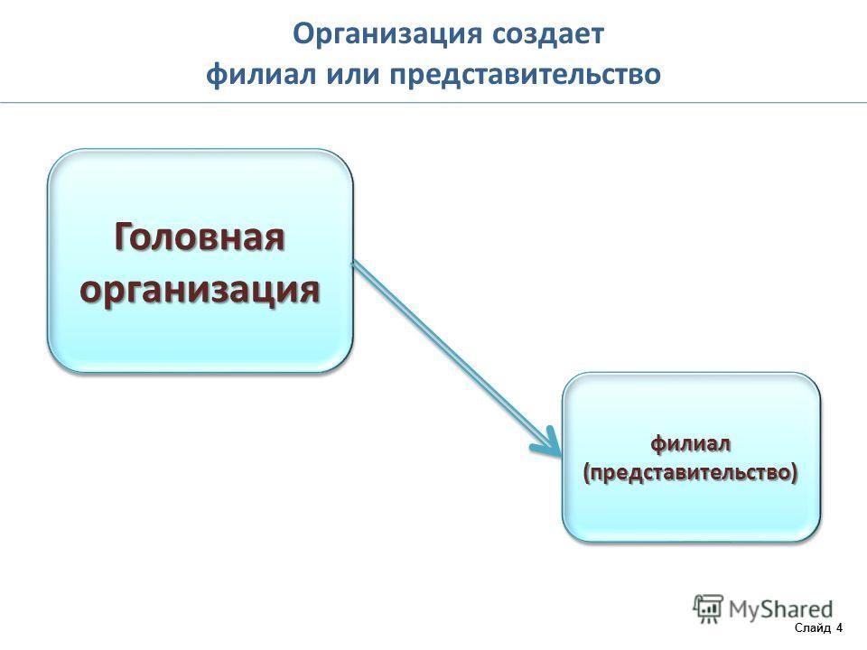 Организация создает филиал или представительство Слайд 4 Головная организация филиал (представительство)