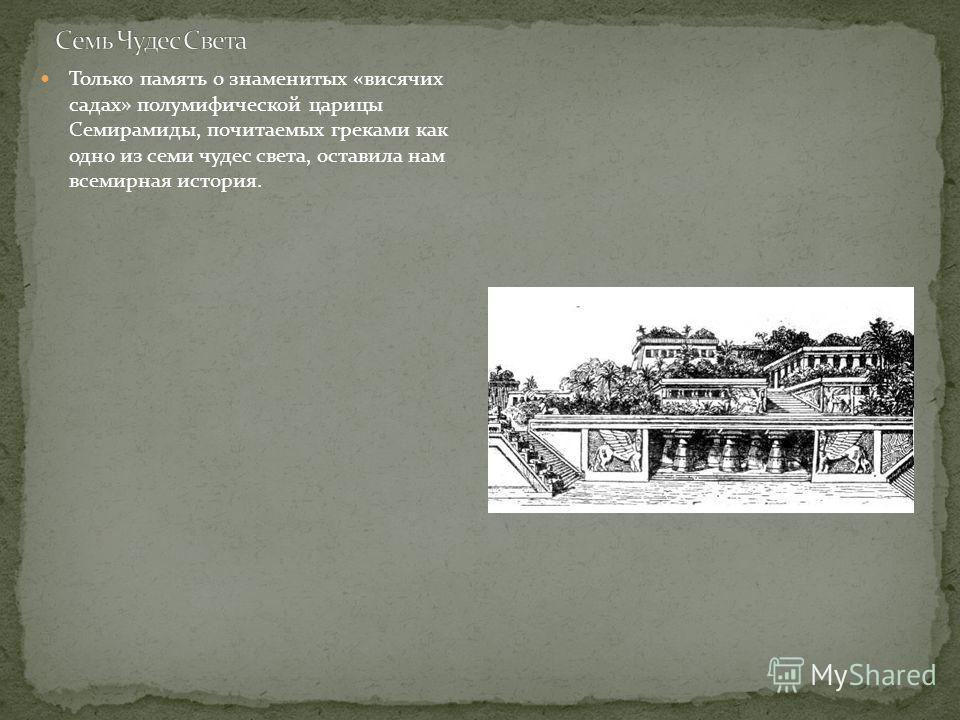 Только память о знаменитых «висячих садах» полумифической царицы Семирамиды, почитаемых греками как одно из семи чудес света, оставила нам всемирная история.