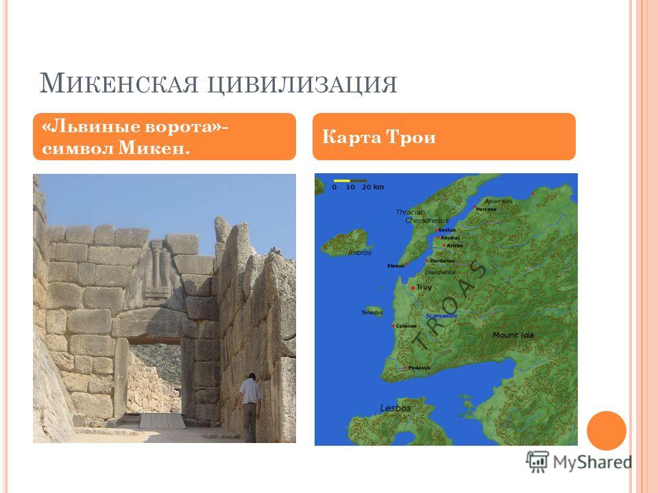 М ИКЕНСКАЯ ЦИВИЛИЗАЦИЯ «Львиные ворота»- символ Микен. Карта Трои