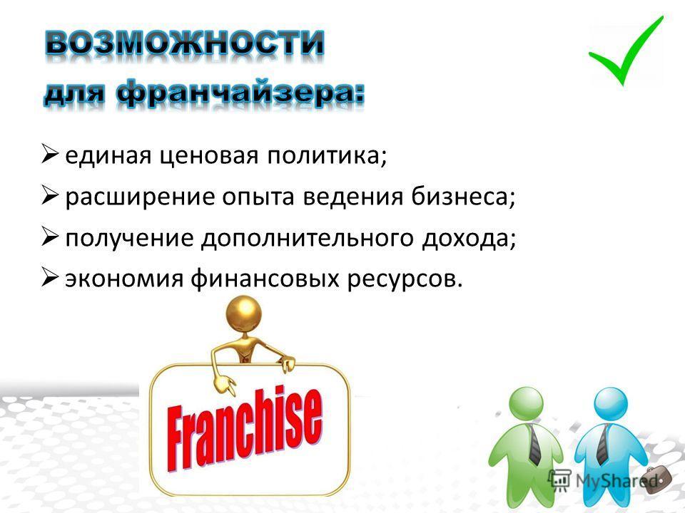 единая ценовая политика; расширение опыта ведения бизнеса; получение дополнительного дохода; экономия финансовых ресурсов.