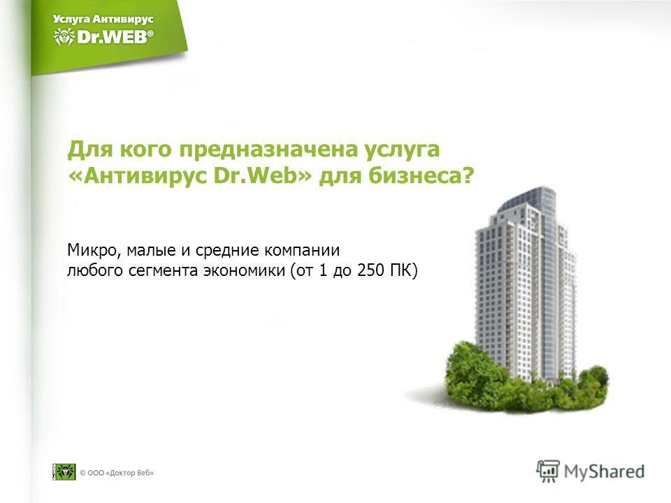 Для кого предназначена услуга «Антивирус Dr.Web» для бизнеса? Микро, малые и средние компании любого сегмента экономики (от 1 до 250 ПК)
