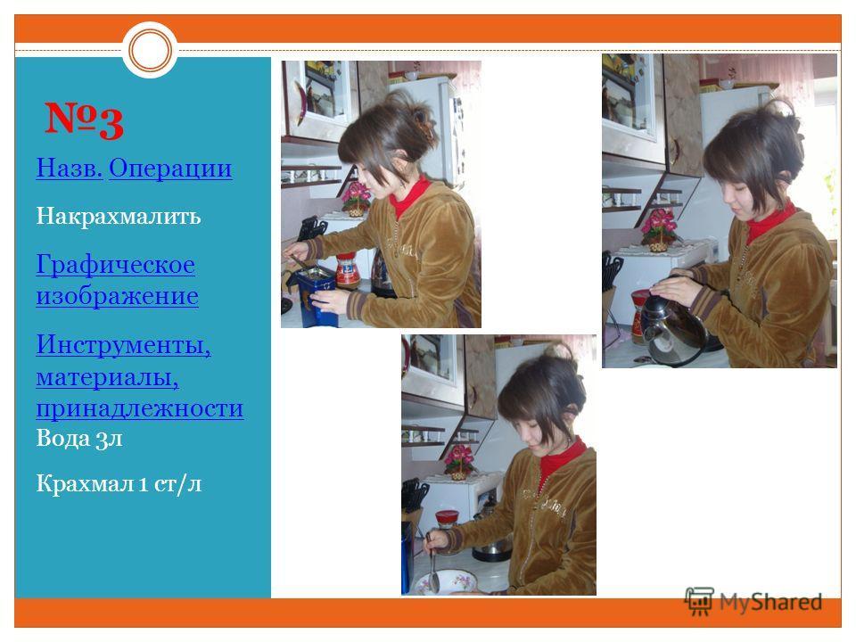 3 Назв. Операции Накрахмалить Графическое изображение Инструменты, материалы, принадлежности Вода 3л Крахмал 1 ст/л