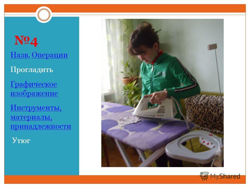 4 Назв. Операции Прогладить Графическое изображение Инструменты, материалы, принадлежности Утюг