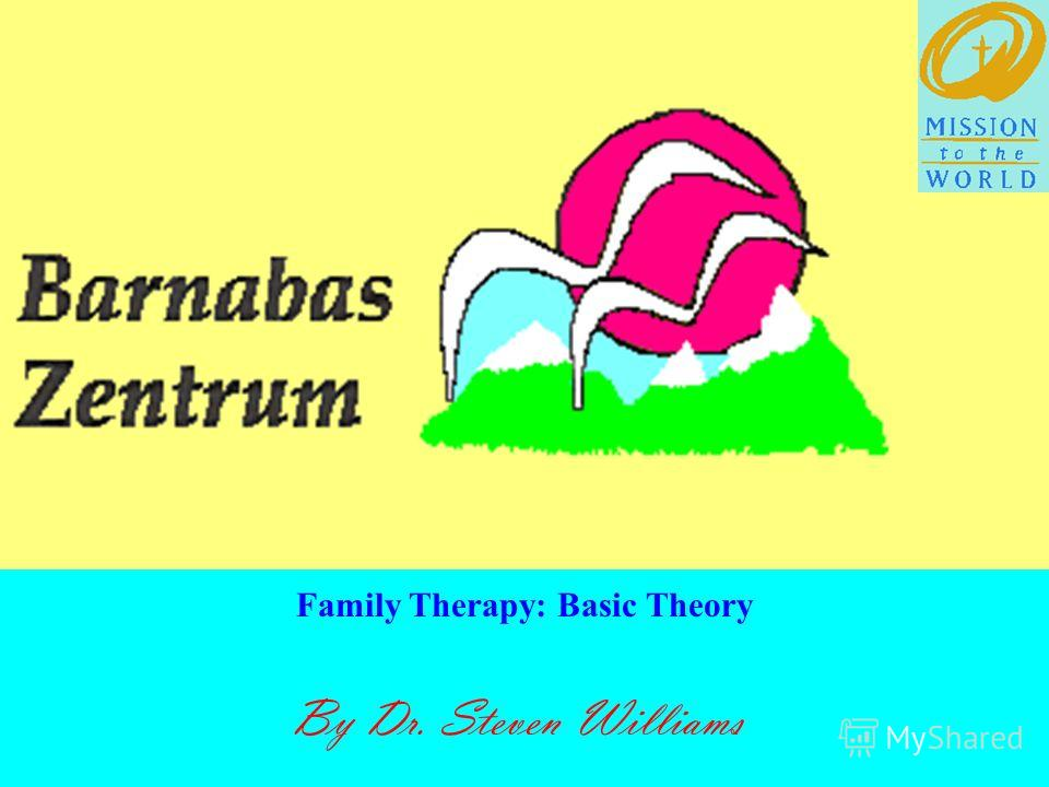 By Dr. Steven Williams Family Therapy: Basic Theory