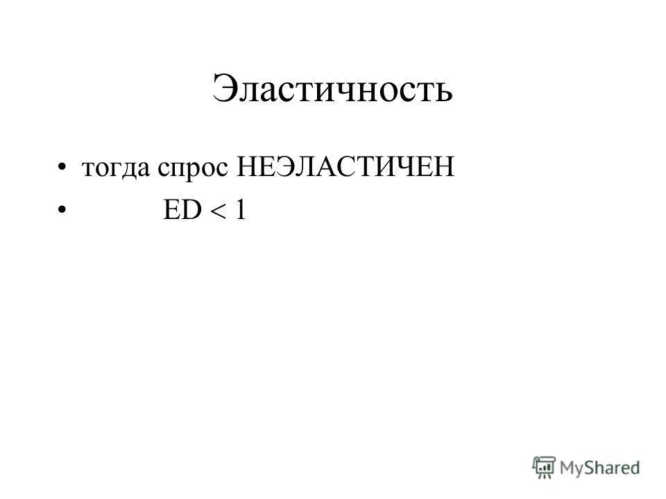 Эластичность тогда спрос НЕЭЛАСТИЧЕН ED 1