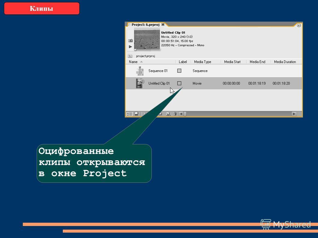 Клипы Оцифрованные клипы открываются в окне Project