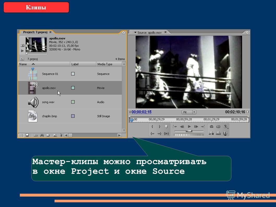 Клипы Мастер-клипы можно просматривать в окне Project и окне Source