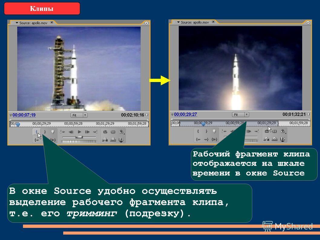Клипы В окне Source удобно осуществлять выделение рабочего фрагмента клипа, т.е. его тримминг (подрезку). Рабочий фрагмент клипа отображается на шкале времени в окне Source
