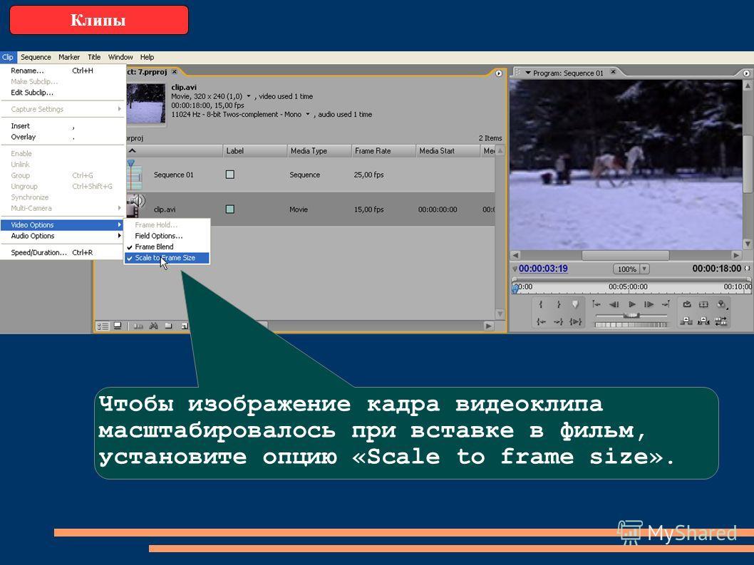 Клипы Чтобы изображение кадра видеоклипа масштабировалось при вставке в фильм, установите опцию «Scale to frame size».