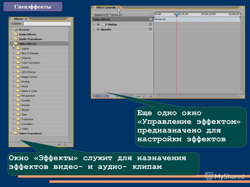 Еще одно окно «Управление эффектом» предназначено для настройки эффектов Окно «Эффекты» служит для назначения эффектов видео- и аудио- клипам
