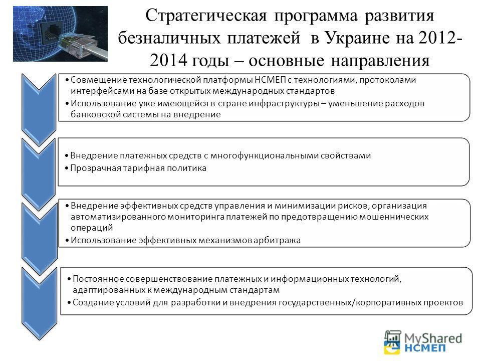 Стратегическая программа развития безналичных платежей в Украине на 2012- 2014 годы – основные направления Совмещение технологической платформы НСМЕП с технологиями, протоколами интерфейсами на базе открытых международных стандартов Использование уже