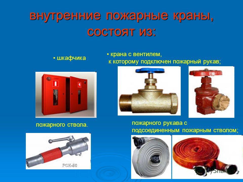 внутренние пожарные краны, состоят из: шкафчика крана с вентилем, к которому подключен пожарный рукав; пожарного рукава с подсоединенным пожарным стволом; пожарного ствола.
