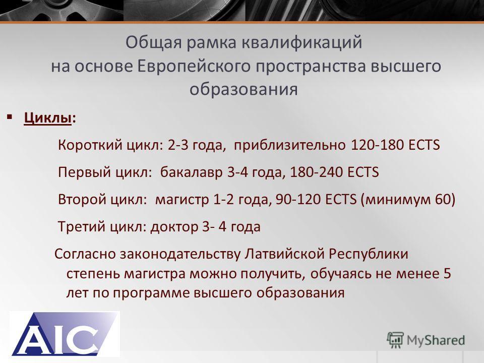 Циклы: Короткий цикл: 2-3 года, приблизительно 120-180 ECTS Первый цикл: бакалавр 3-4 года, 180-240 ECTS Второй цикл: магистр 1-2 года, 90-120 ECTS (минимум 60) Tретий цикл: доктор 3- 4 года Согласно законодательству Латвийской Республики степень маг