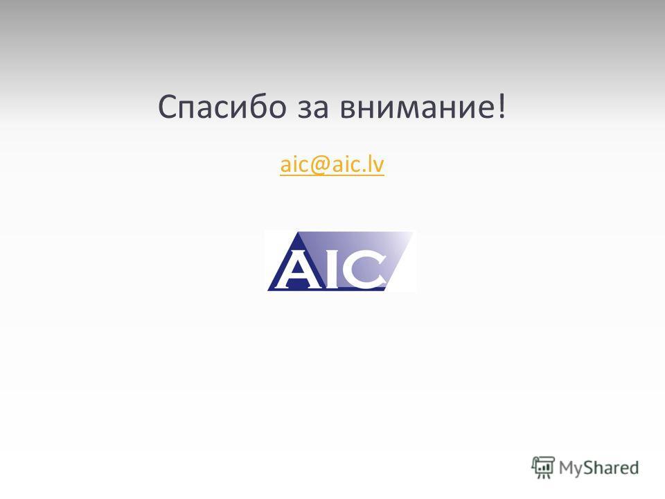 Спасибо за внимание! aic@aic.lv
