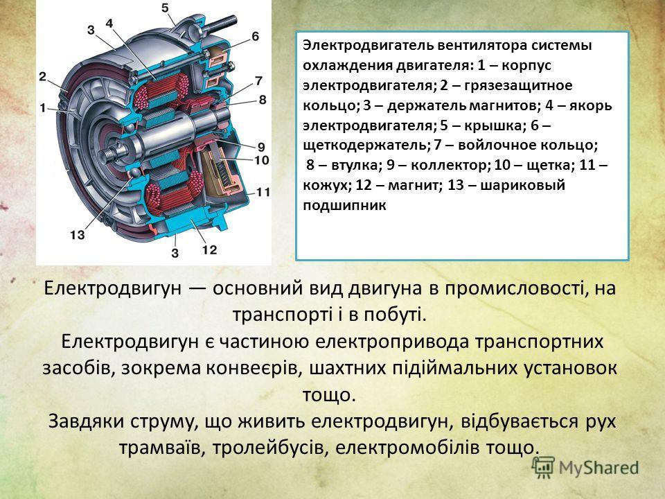 Електродвигун основний вид двигуна в промисловості, на транспорті і в побуті. Електродвигун є частиною електропривода транспортних засобів, зокрема конвеєрів, шахтних підіймальних установок тощо. Завдяки струму, що живить електродвигун, відбувається