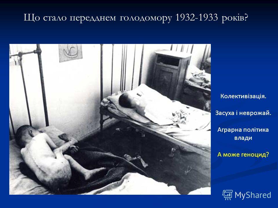 Що стало передднем голодомору 1932-1933 років? Колективізація. Засуха і неврожай. Аграрна політика влади А може геноцид?