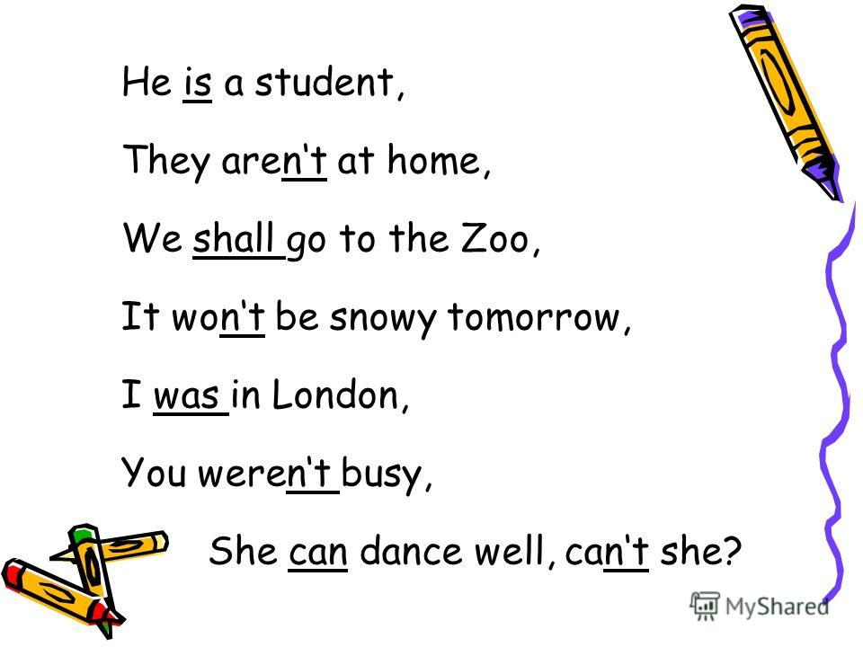 He is a student, They arent at home, We shall go to the Zoo, It wont be snowy tomorrow, I was in London, You werent busy, She can dance well, cant she?