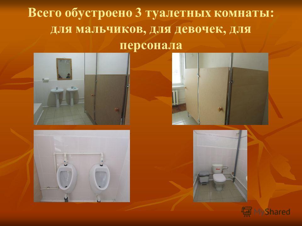 Всего обустроено 3 туалетных комнаты: для мальчиков, для девочек, для персонала
