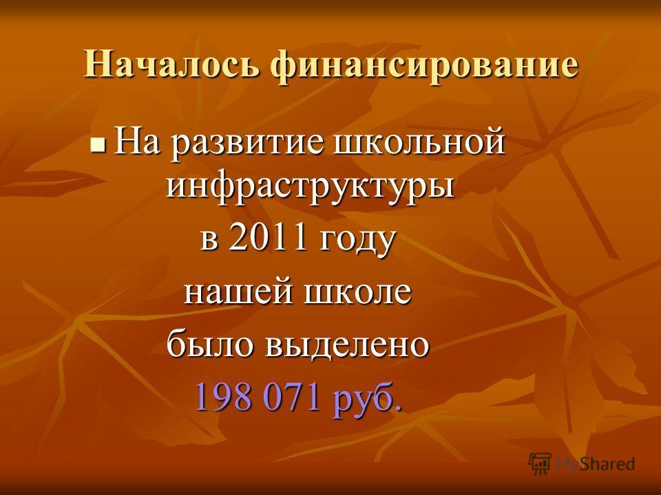 Началось финансирование На развитие школьной инфраструктуры в 2011 году нашей школе было выделено 198 071 руб.