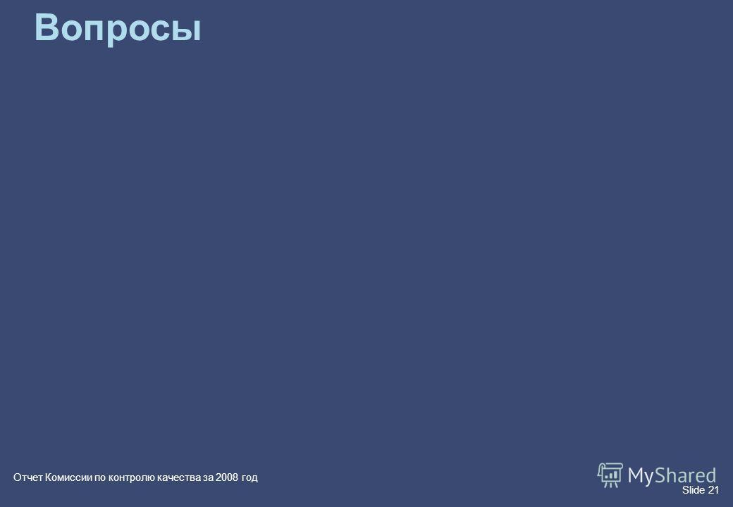 Slide 21 Отчет Комиссии по контролю качества за 2008 год Вопросы