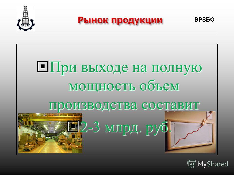 При выходе на полную мощность объем производства составит При выходе на полную мощность объем производства составит 2-3 млрд. руб. 2-3 млрд. руб. ВРЗБО