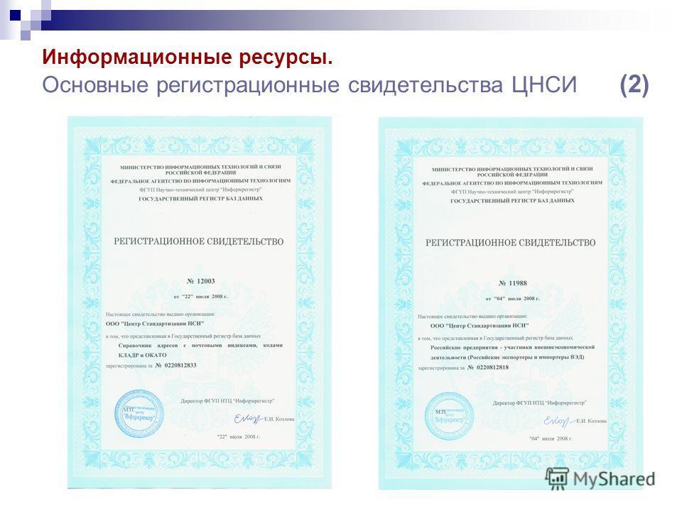 Информационные ресурсы. Основные регистрационные свидетельства ЦНСИ (2)
