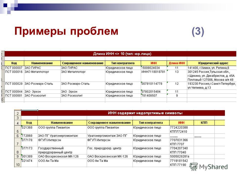 Примеры проблем (3)